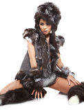 Woman in barbarian costume Royalty Free Stock Image