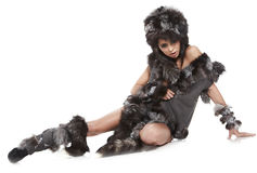 Woman in barbarian costume Royalty Free Stock Photography