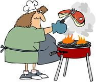 Woman Barbecueing A Steak royalty free illustration