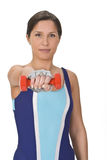 Woman with barbell royalty free stock image