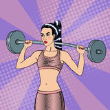 Woman with Barbell. Fit Girl. Healthy Lifestyle. Pop Art. Vector background vector illustration