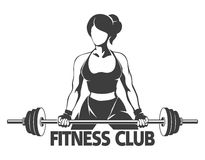 Woman with Barbell Fitness Emblem Stock Photos