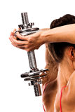Woman with barbell Stock Photos