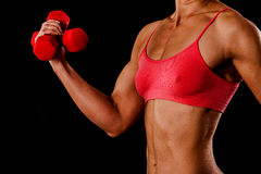 Woman with barbells. Fitness woman with barbells on black background Royalty Free Stock Images
