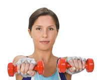 Woman with barbells royalty free stock image