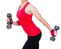 Woman with barbells. Isolated on white background Royalty Free Stock Photos