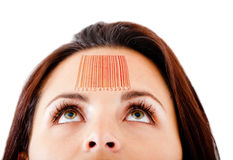 Woman with a barcode Royalty Free Stock Photography