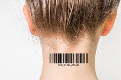 Woman with barcode on her neck - genetic clone concept Stock Images