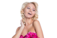 Woman with bare shoulders royalty free stock photo