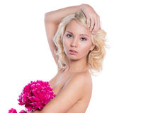 Woman with bare shoulders stock images