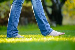 Woman Barefoot Legs on the Green Grass in Garden Royalty Free Stock Images
