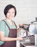 Woman barista enjoy at work Stock Photos