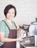 Woman barista enjoy at work Stock Photos