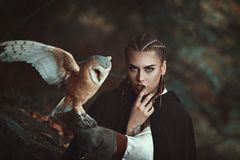 Woman with barn owl on her arm royalty free stock photos