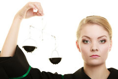 Woman barrister holding scales. Stock Photos