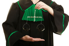 Woman barrister holding scales. Royalty Free Stock Photos