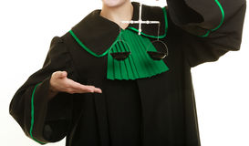 Woman barrister holding scales. Stock Image