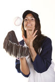 Woman Baseball or Softball Player Catches a Ball Stock Photos