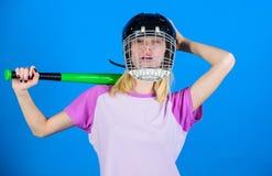 Woman in baseball sport. Baseball female player concept. Break sport stereotype. Woman enjoy play baseball game. Girl stock images