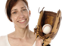 Woman with Baseballhandschuth Stock Images