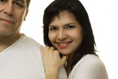 Woman is based on man's shoulder Stock Image