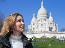 Woman before Basilica of Sacre-Coeur,Montmartre Stock Photo