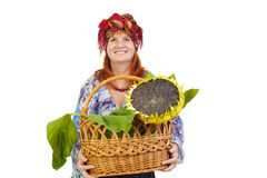 The woman with a basket Royalty Free Stock Photography