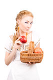 Woman with basket of apples Royalty Free Stock Photo