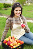 Woman with basket apples against green grass Stock Photo