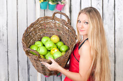 Woman with a basket of apples Royalty Free Stock Photography