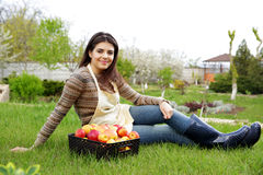 Woman with basket apples sitting on grass in garden Stock Photo