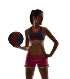 Woman basket ball. Royalty Free Stock Photos