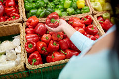 Woman with basket buying peppers at grocery store Stock Images