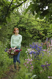 Woman With Basket Of Flowers In Garden Royalty Free Stock Photography