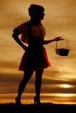 Woman basket hood silhouette Stock Image