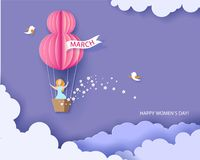 Woman in basket of hot air balloon. Card for 8 March womens day. Woman in basket of hot air balloon. Abstract background with text and flowers .Vector Royalty Free Stock Image