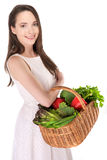 Woman with basket Royalty Free Stock Images