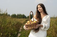 Woman with basket outdoors Stock Images