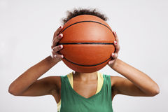 Woman with basketball Stock Photos