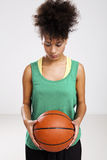 Woman with basketball Royalty Free Stock Photos