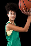 Woman with basketball Stock Photo