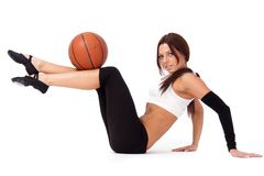 Woman with basketball Stock Image