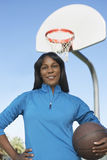 Woman With Basketball At Court Stock Photos