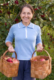 Woman with  baskets Stock Images