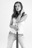 Woman with bass guitar, B&W Stock Photos