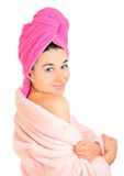 Woman after bath. Portrait of young beautiful woman after bath royalty free stock photos