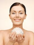 Woman with bath ball royalty free stock images