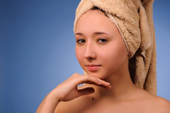 Woman after bath Stock Photos