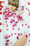 Woman bath flower Stock Photos