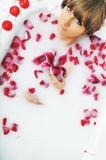 Woman bath flower Stock Photography